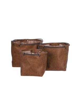 "Steph pot round l. brown set of 3 - 8x8.25"""
