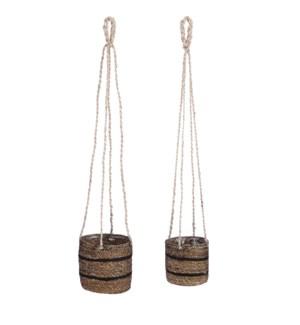 """Celestial basket hanging black set of 2 - 6.25x6.25"""""""