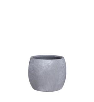 "Lester pot round l. grey stone - 6.25x5.5"""