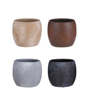 """Lester pot round stone 4 assorted PDQ - 6.25x5.5"""""""