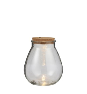 Jar glass 5 led battery operated - 7.75x8.75""