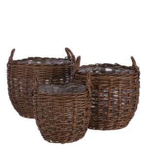 """Vesta basket d. brown set of 3 - 19.25x15"""""""