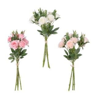 "Bouquet rose cream pink peach 3 assorted - 17.75x6.25"""