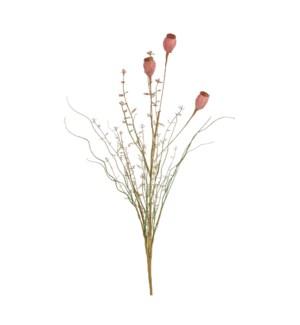 """Dried look poppy pink - 23.75x2"""""""