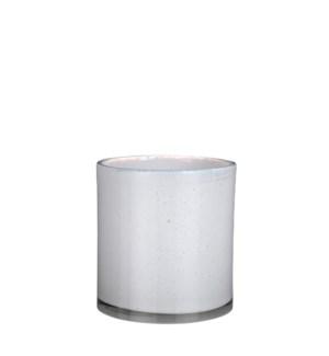 "Estelle vase cylinder glass white - 6.75x7.25"""