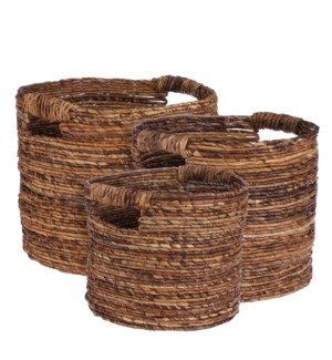 Arja basket d. brown set of 3 - 17x14.25""
