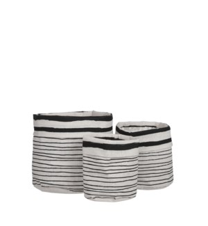 Sabie pot round black set of 3 - 8x7""
