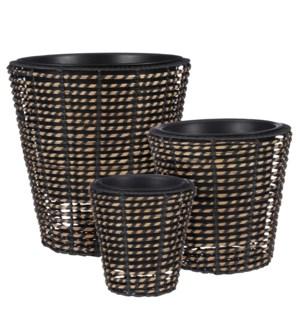 "Zora pot round black set of 3 - 17.25x17.25"""
