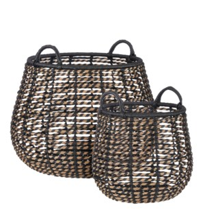 "Zora basket round black set of 2 - 20.5x14.5"""