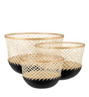 "Dundee basket round black set of 3 - 15.25x10.25"""