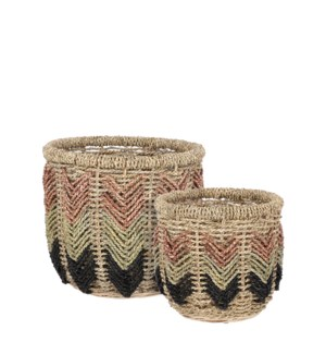 Basket brown set of 2 - 15.75x13.75""