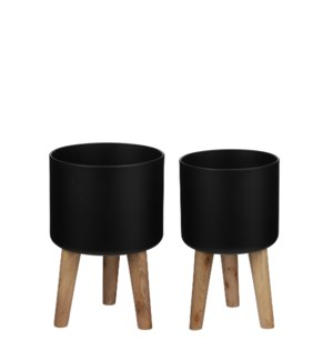 Roselle pot on foot black set of 2 - 11x16.5""