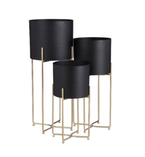 Aries pot on stand black set of 3 - 9.5x22.75""