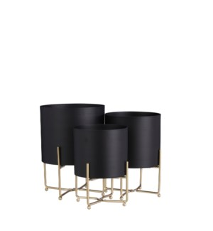 Aries pot on stand black set of 3 - 9.5x12.5""
