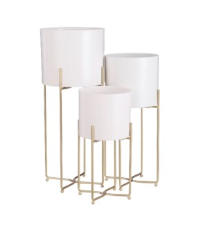Aries pot on stand white set of 3 - 9.5x22.75""