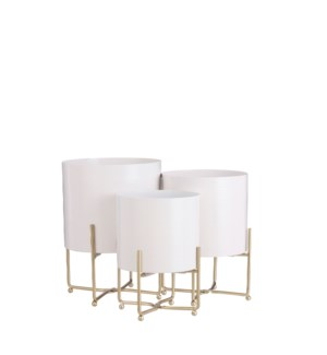 Aries pot on stand white set of 3 - 9.5x12.5""