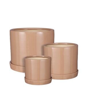 """Milan pot round with saucer taupe set of 3 - 12.5x10.25"""""""