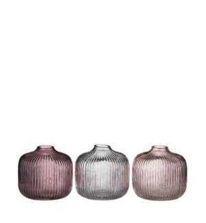 "Drew single flower vase 3 assorted - 4.25x4.25"""
