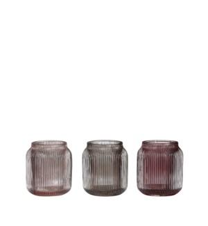 "Drew tealight holder 3 assorted - 2.75x3"""