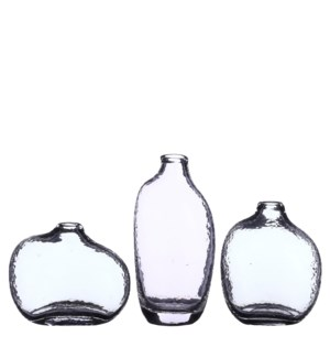 "Belinda single flower vase transp. 3 ass. - 3.75x3x8"""