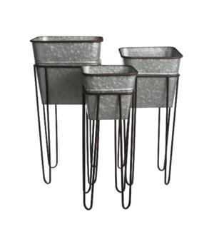 """Pot on stand silver set of 3 - 12.5x12.5x26.5"""""""