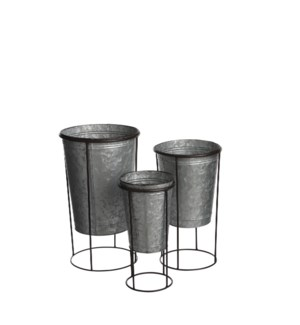 """Pot on stand silver set of 3 - 9.5x16.25"""""""