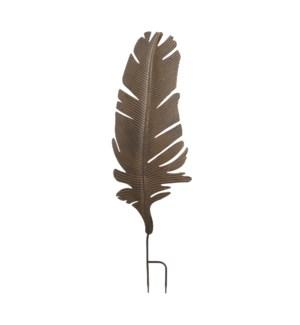 "Yara garden stake leaf d. brown - 13x43.25"""