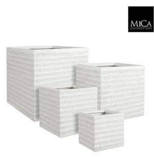 "Corda pot square off white set of 4 - 14.5x14.5x14.5"""