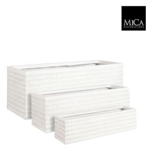 """Corda pot rectangle off white set of 3 - 29x10.75x10.75"""""""