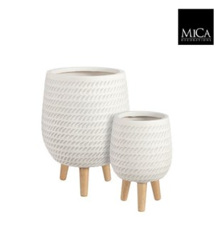 Corda pot on stand off white set of 2 - 12.5x17""