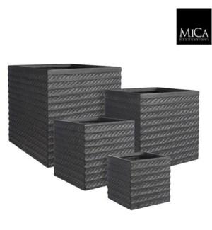 "Corda pot square black set of 4 - 14.5x14.5x14.5"""