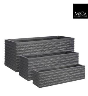 "Corda pot rectangle black set of 3 - 29x10.75x10.75"""