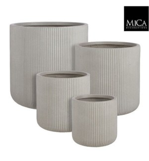 "Nuovo pot round beige set of 4 - 17.75x17.75"""