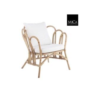 "Rochelle chair with cushion l. brown - 29x30.75x33"""