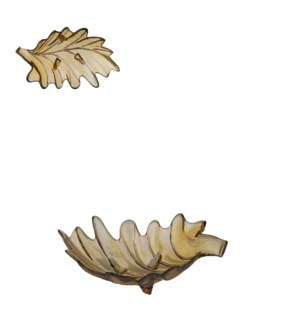 "Bowl leaf glass ochre - 13.75x7.25x4.25"""