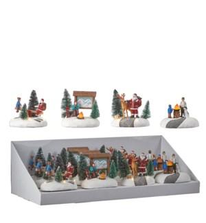 """Christmas scenery 4 assorted BO display - 4.25x3.25x4.25"""""""