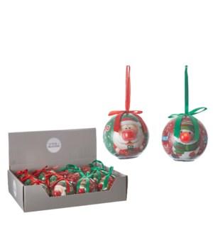 "Ornament ball santa snowman 2 assorted BO display - 3.25"""