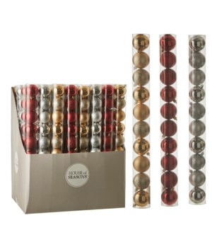Bauble unbreakable red silver gold 10 pieces display - 2.25""