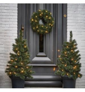 """Glendon set tree 2pcs 30L wreath 25L led BO  - 18x36"""""""