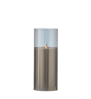 Candle grey warm white led battery operated - 4x9.75""
