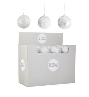Ornament ball silver 3 assorted display - 4""