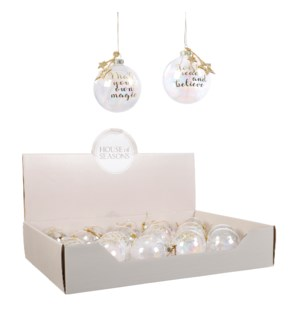 Bauble glass transparent 2 assorted display - 2.75""