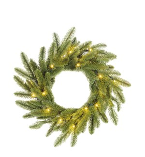 """Brewer wreath led battery operated green 20L TIPS 112  - 18"""""""
