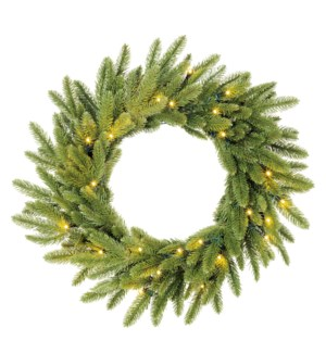 """Brewer wreath led battery operated green 30L TIPS 176  - 24"""""""