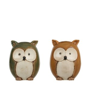 Owl yellow green 2 assorted - 4.75x6""