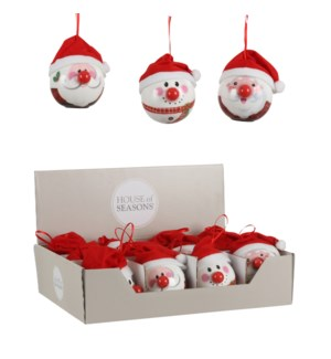Ornament ball red 3 assorted BO display - 3.25""