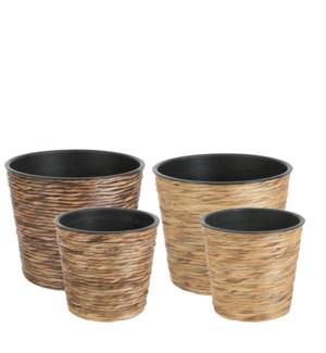 Weave pot round brown d. brown mixpallet