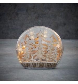 "Winter scene tree warm white led BO - 9.75x2.25x8.75"""