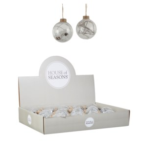"""Bauble glass pine cone white 2 assorted display - 2.75"""""""