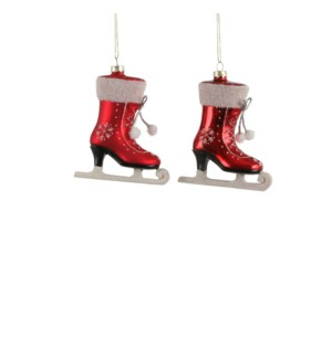 Ornament skates red 2 assorted - 3.5x1.25x4.5""